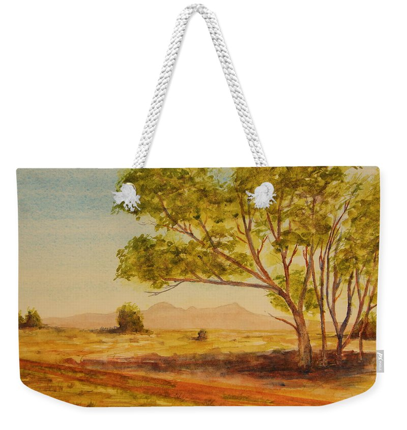 Broken Hill Weekender Tote Bag featuring the painting On The Road To Broken Hill Nsw Australia by Tim Mullaney