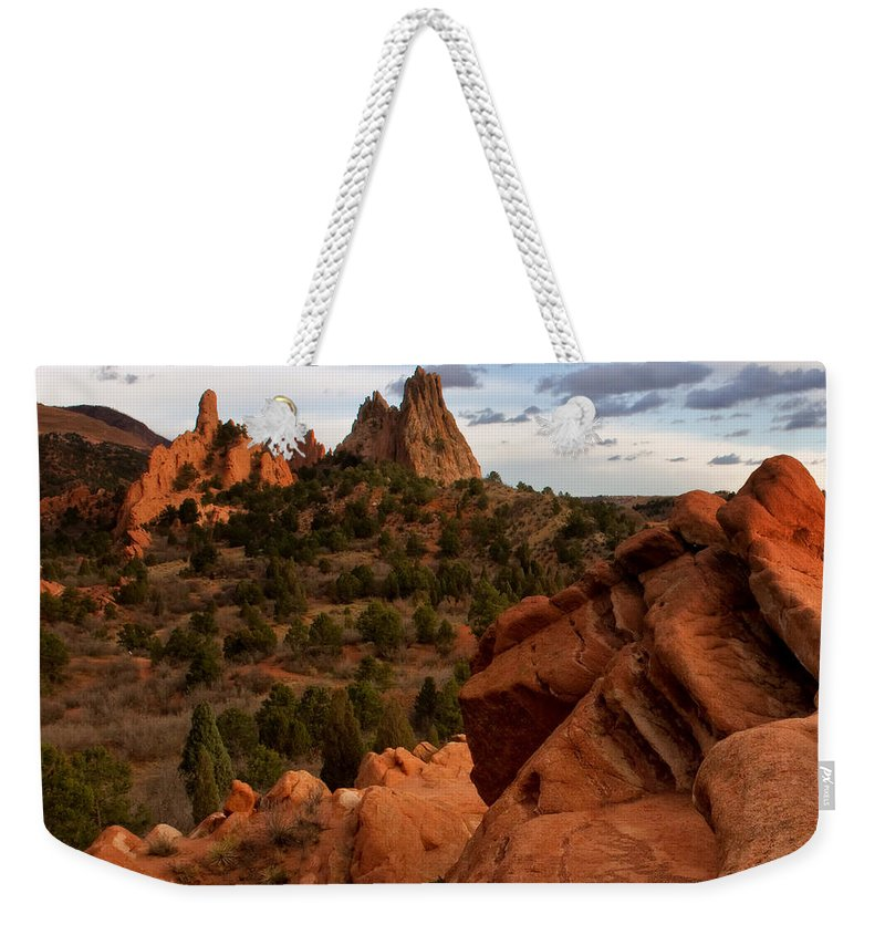 Garden Of The Gods Weekender Tote Bag featuring the photograph On The Rocks by Ronda Kimbrow