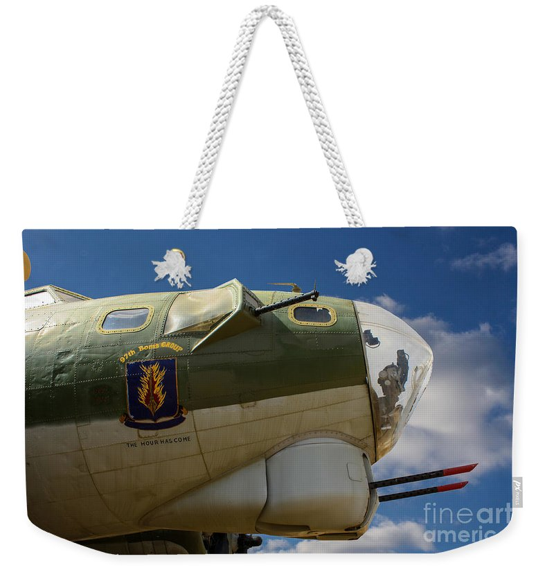 Flying Fortress Weekender Tote Bag featuring the photograph On The Tarmac B-17g by Tommy Anderson