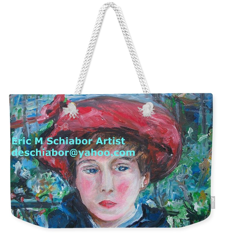 Renoir Weekender Tote Bag featuring the painting On The Terrace Renoir Rendition by Eric Schiabor