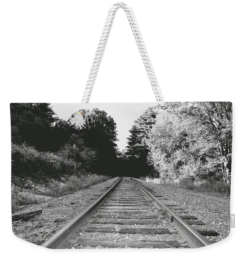 Rail-road Tracks Weekender Tote Bag featuring the photograph On The Tracks by Neal Eslinger