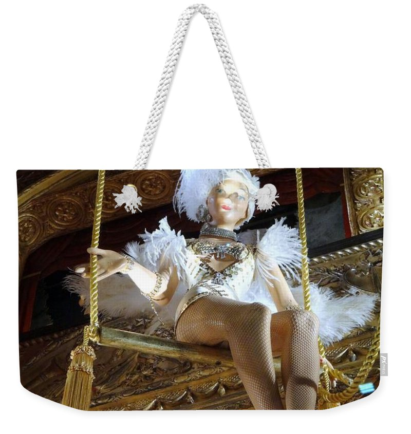 Mannequin Weekender Tote Bag featuring the photograph On The Trapeze by Ed Weidman