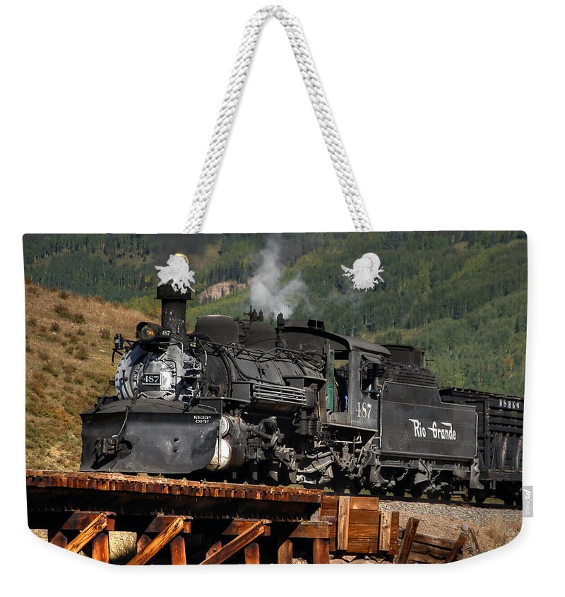 Steam Train Photographs Weekender Tote Bag featuring the photograph On The Trestle by Ken Smith