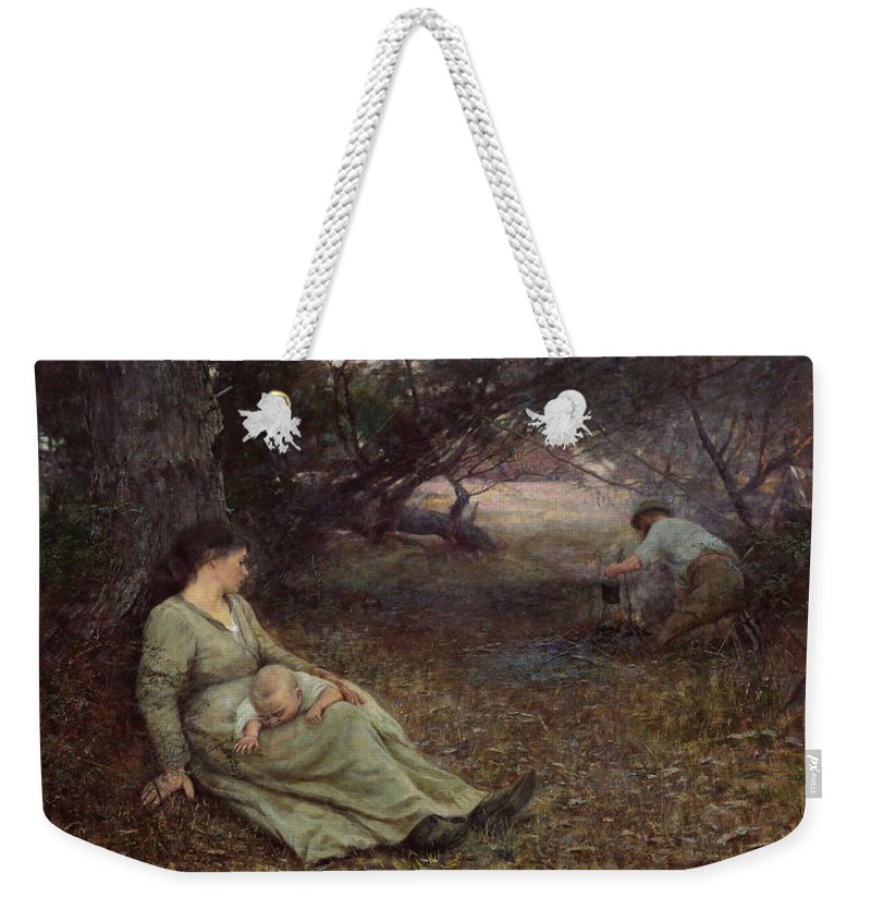 Frederick Mccubbin Weekender Tote Bag featuring the painting On the wallaby track by Frederick McCubbin