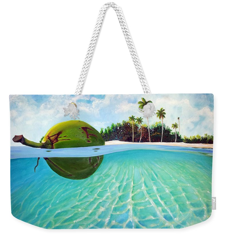 Coconut Weekender Tote Bag featuring the painting On The Way by Jose Manuel Abraham
