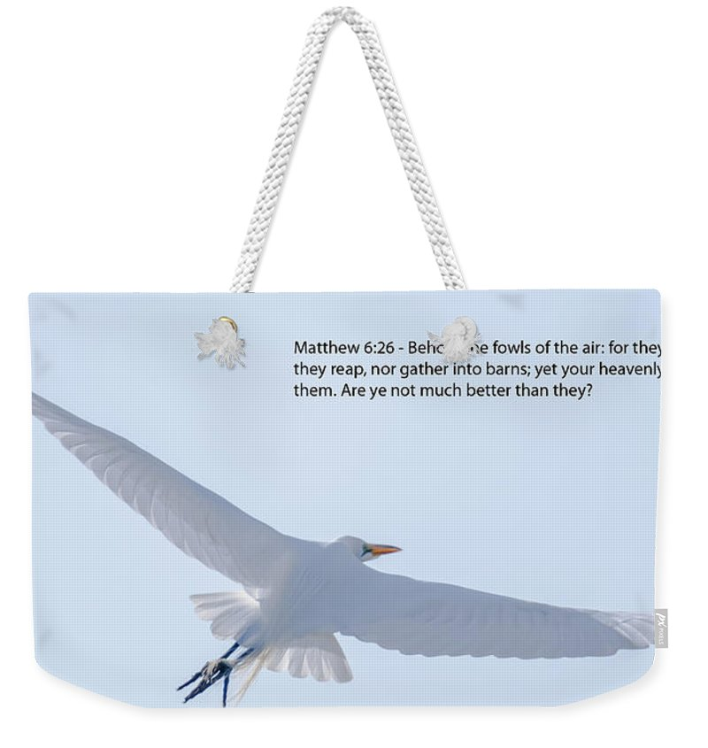 Great White Heron Weekender Tote Bag featuring the photograph On The Wings Of Flight by Dale Powell