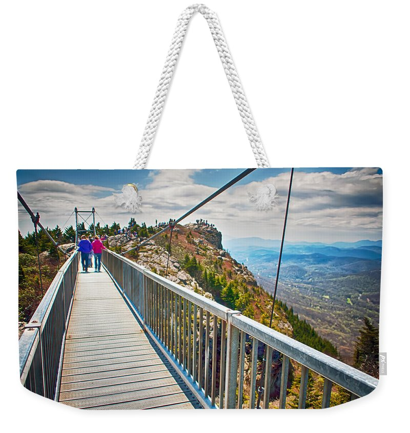On Top Of Weekender Tote Bag featuring the photograph On Top Of Grandfather Mountain Mile High Bridge In Nc by Alex Grichenko