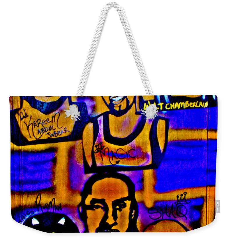 Magic Johnson Weekender Tote Bag featuring the painting Once A Laker... by Tony B Conscious