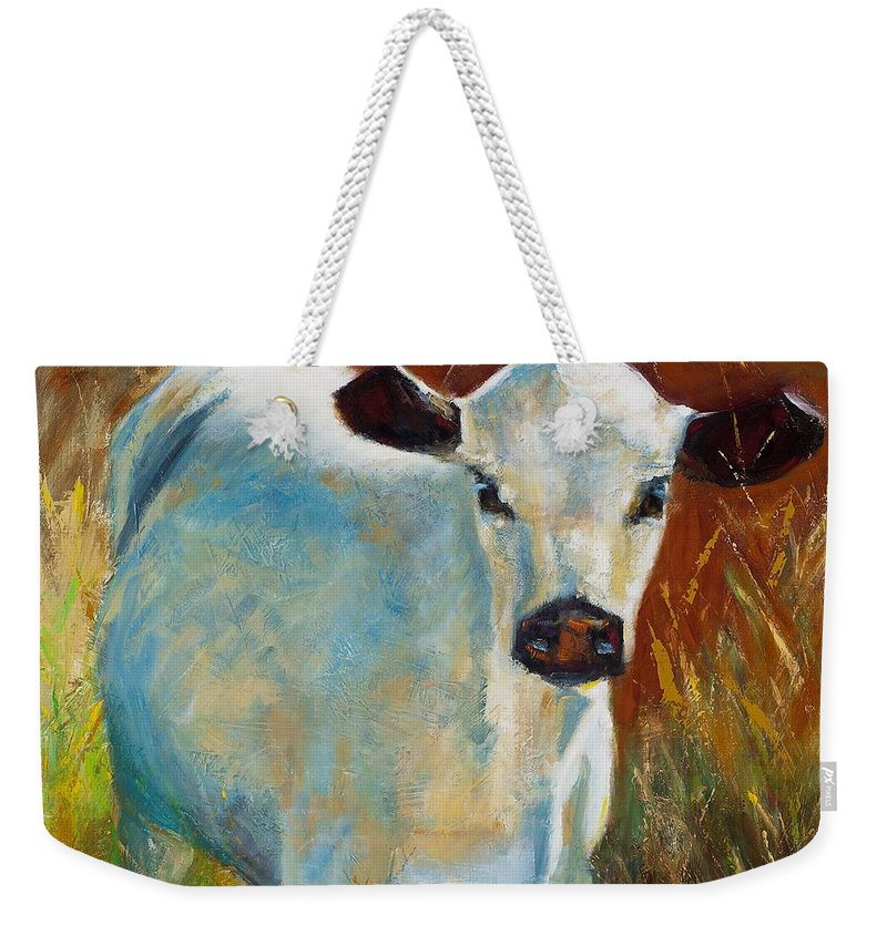 Cows Weekender Tote Bag featuring the painting Once In A Blue Moon by Frances Marino