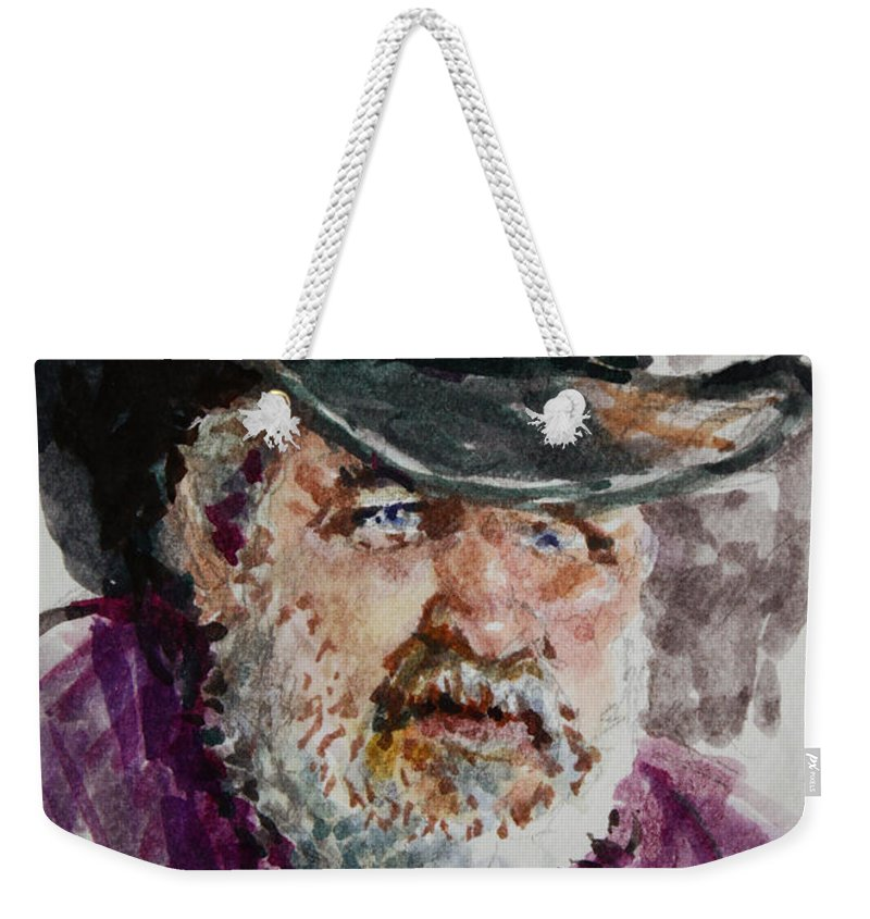 One Eyed Cowboy Weekender Tote Bag featuring the painting One Eyed Cowboy by Ylli Haruni