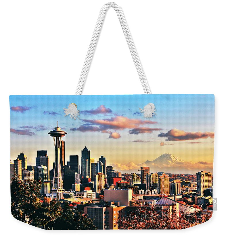 Seattle Weekender Tote Bag featuring the photograph One Fine Skyline by Benjamin Yeager