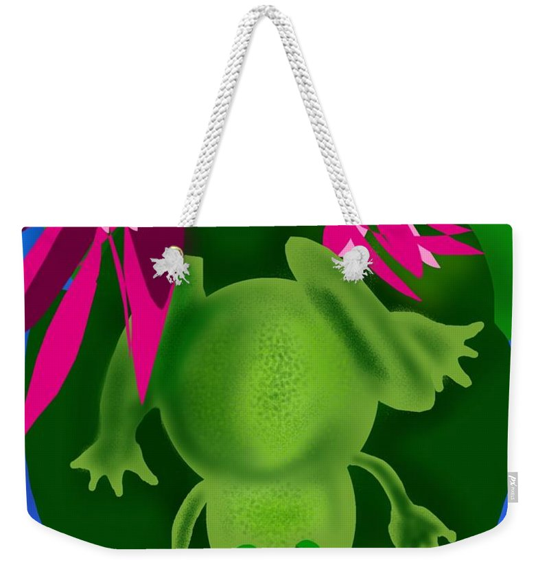 Frog Weekender Tote Bag featuring the digital art One Frogs Dinner by Christine Fournier
