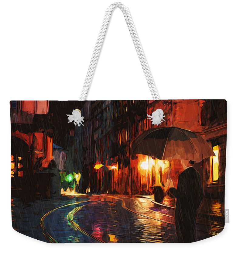 Street Weekender Tote Bag featuring the painting One Of These Nights by Zapista