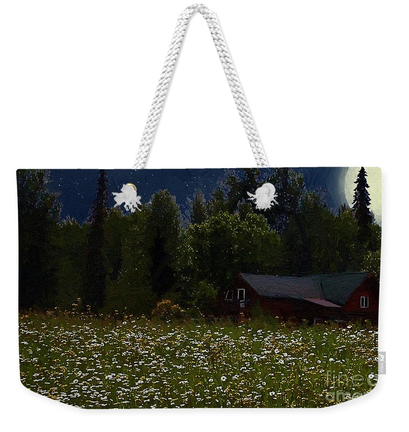 Meadow Weekender Tote Bag featuring the painting One Starry Summer Night by RC DeWinter