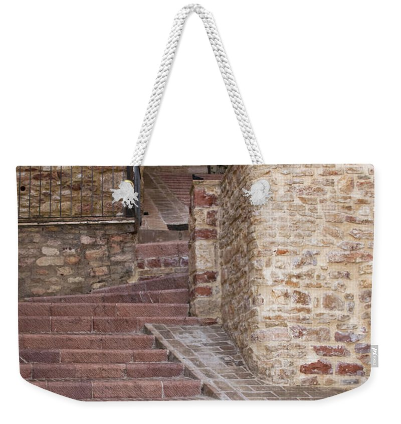 Assisi Italy Passageway Passageways Building Buildings Structure Structures Architecture Step Steps Window Windows Door Doors Stone Stones Cityscape Cityscapes City Cities Weekender Tote Bag featuring the photograph One Way Up by Bob Phillips