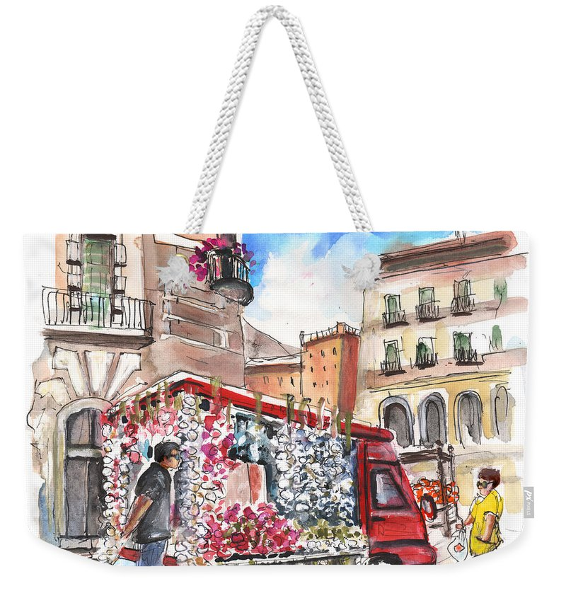 Travel Weekender Tote Bag featuring the painting Onion And Garlic Street Seller In Siracusa by Miki De Goodaboom