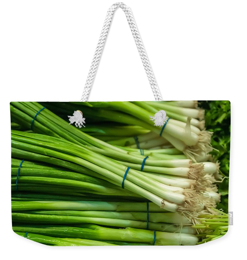 Bulb Weekender Tote Bag featuring the photograph Onion With Chives by Alex Grichenko