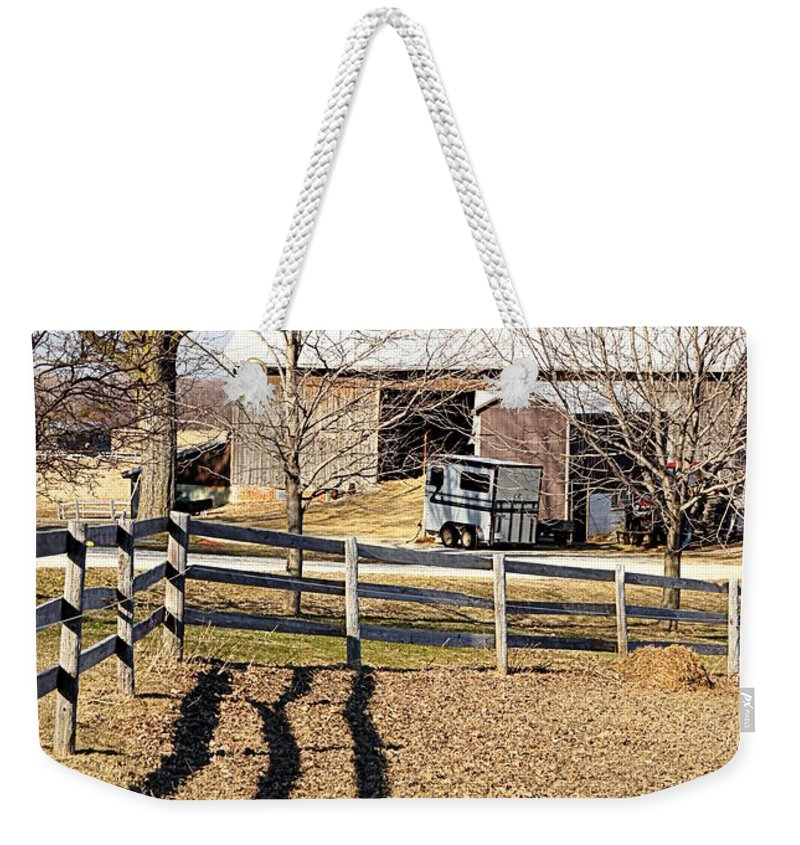 Ontario Weekender Tote Bag featuring the photograph Ontario Farm by Valentino Visentini