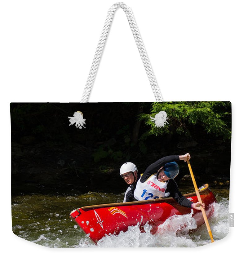 Canoe Weekender Tote Bag featuring the photograph Open Canoe Whitewater Race - Panorama by Les Palenik