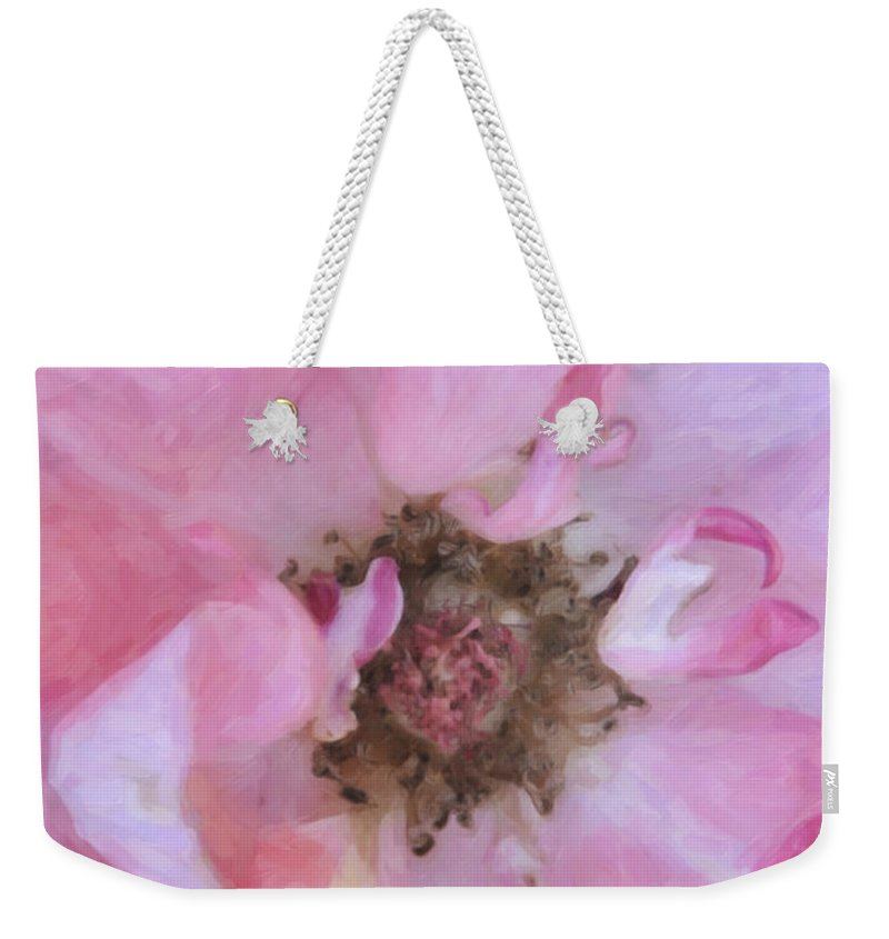 Kenny Francis Weekender Tote Bag featuring the photograph Open Pink Rose by Kenny Francis