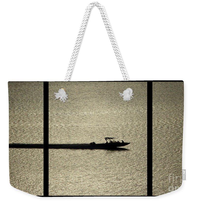 Open Water Weekender Tote Bag featuring the digital art Open Waters Triptych by Peter Piatt