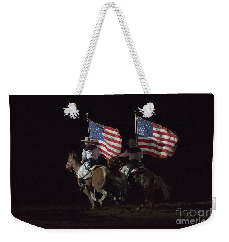 Horse Weekender Tote Bag featuring the photograph Opening Of Westernaires Ceremony by Janice Pariza