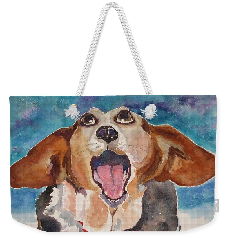 Basset Hound Weekender Tote Bag featuring the painting Opera Dog by Brenda Kennerly