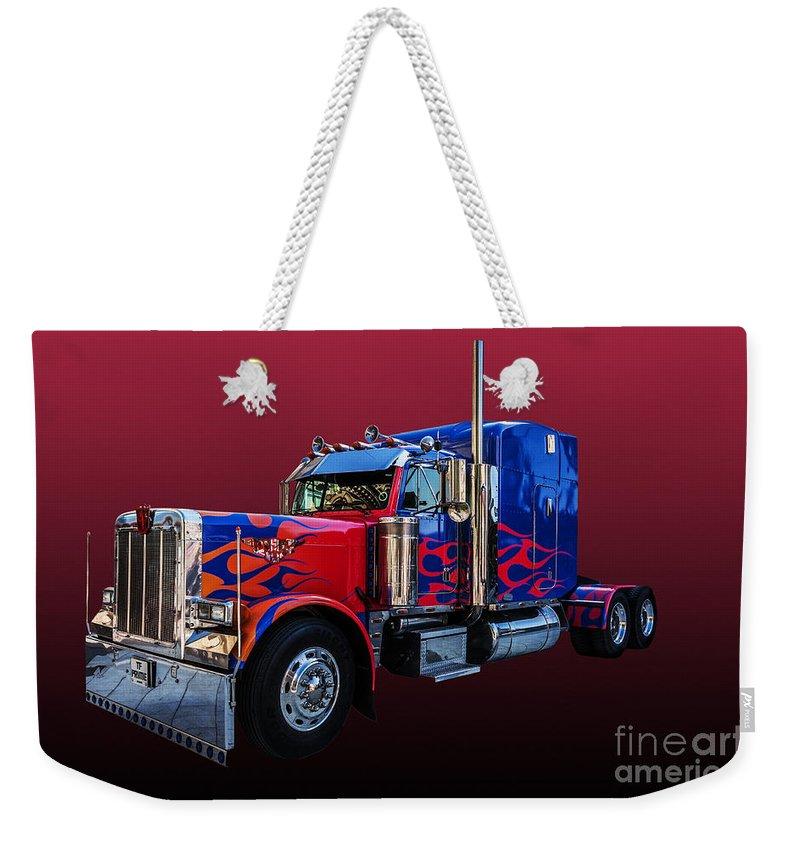 Optimus Prime Weekender Tote Bag featuring the photograph Optimus Prime Red by Steve Purnell
