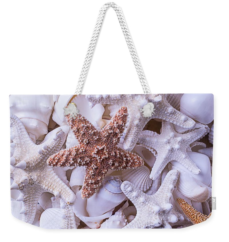White Weekender Tote Bag featuring the photograph Orange And White Starfish by Garry Gay