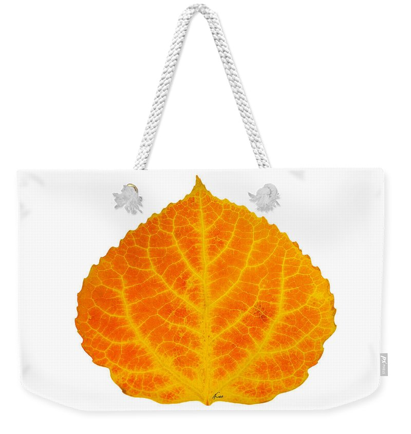 Aspen Leaf Weekender Tote Bag featuring the digital art Orange And Yellow Aspen Leaf 3 by Agustin Goba