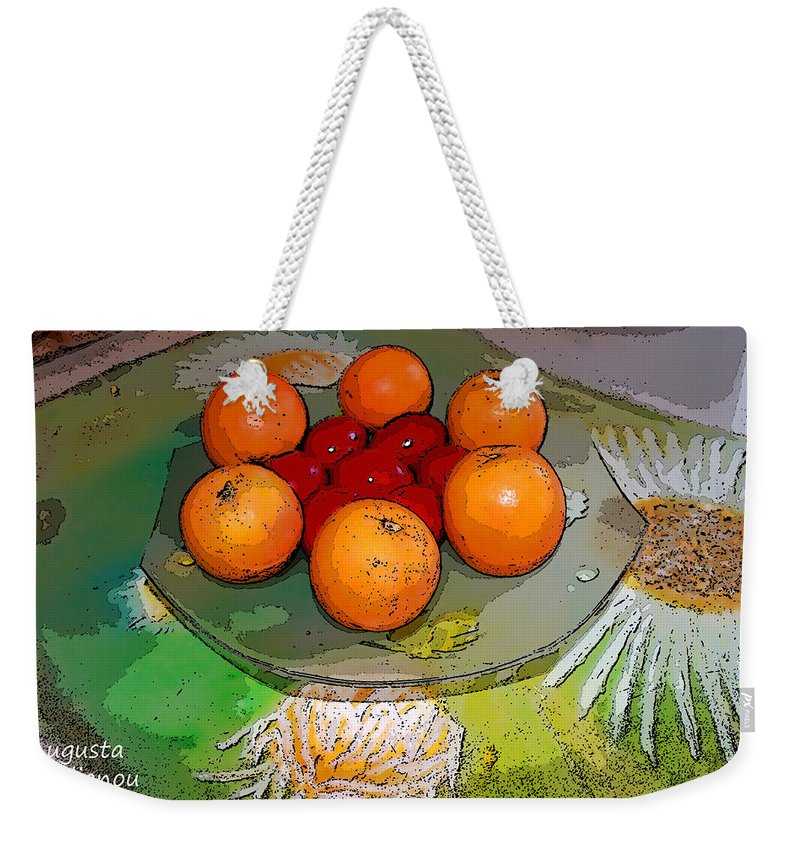 Augusta Stylianou Weekender Tote Bag featuring the digital art Orange Beauty by Augusta Stylianou