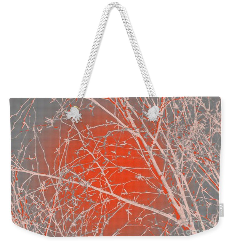 Orange Weekender Tote Bag featuring the digital art Orange Branches by Carol Lynch