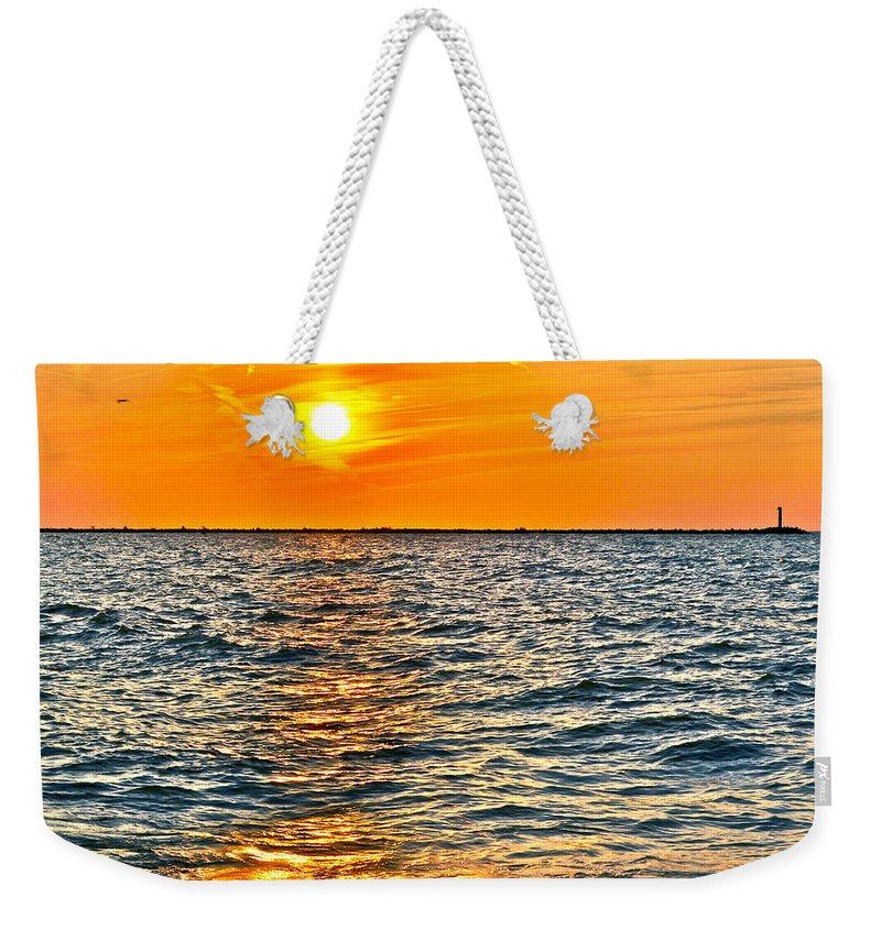 Seascape Weekender Tote Bag featuring the photograph Orange Burn by Frozen in Time Fine Art Photography
