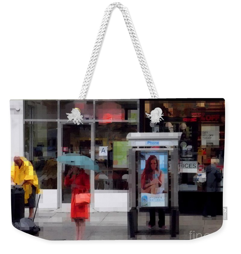Orange Weekender Tote Bag featuring the photograph Orange Coat - Rainy Day by Miriam Danar