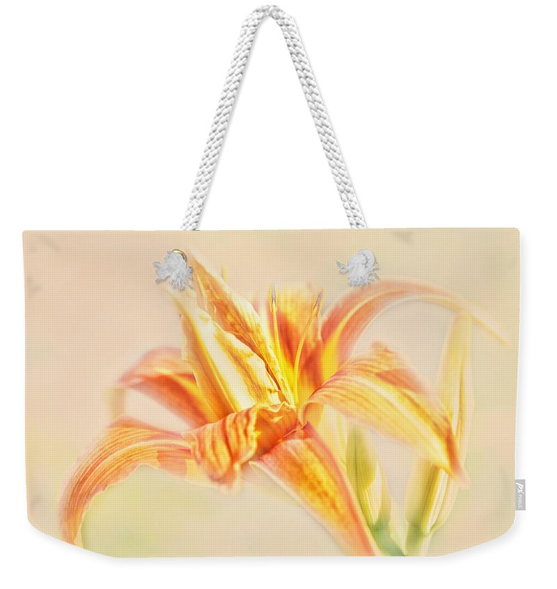 Daylilly Weekender Tote Bag featuring the photograph Orange Cream by Susan Capuano