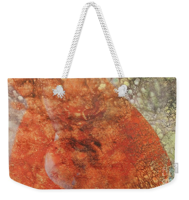 Orange Weekender Tote Bag featuring the mixed media Orange Crush by Jacklyn Duryea Fraizer