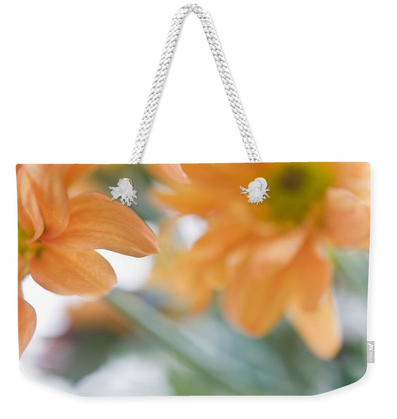 Chrysanthemum Weekender Tote Bag featuring the photograph Orange Design. Paintrly Chrysanthemum by Jenny Rainbow