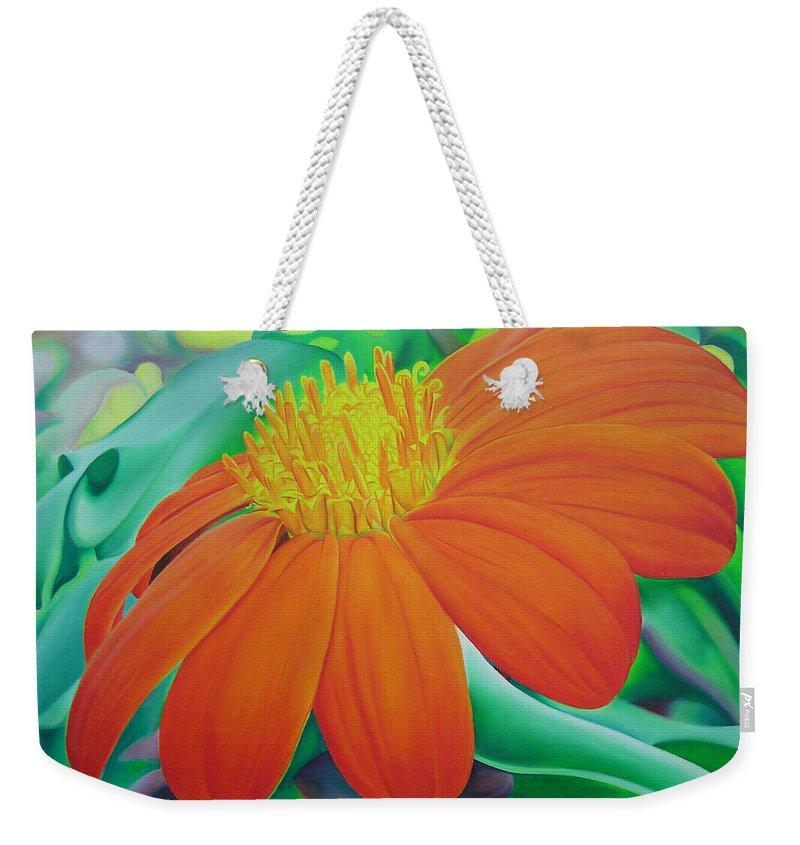 Flowers Weekender Tote Bag featuring the painting Orange Flower by Joshua Morton