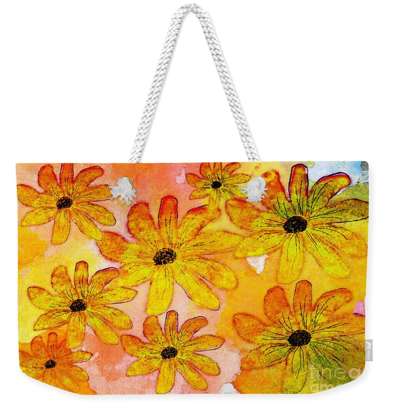 Nature Weekender Tote Bag featuring the digital art Orange Flowers Galore Digital Art by Debbie Portwood