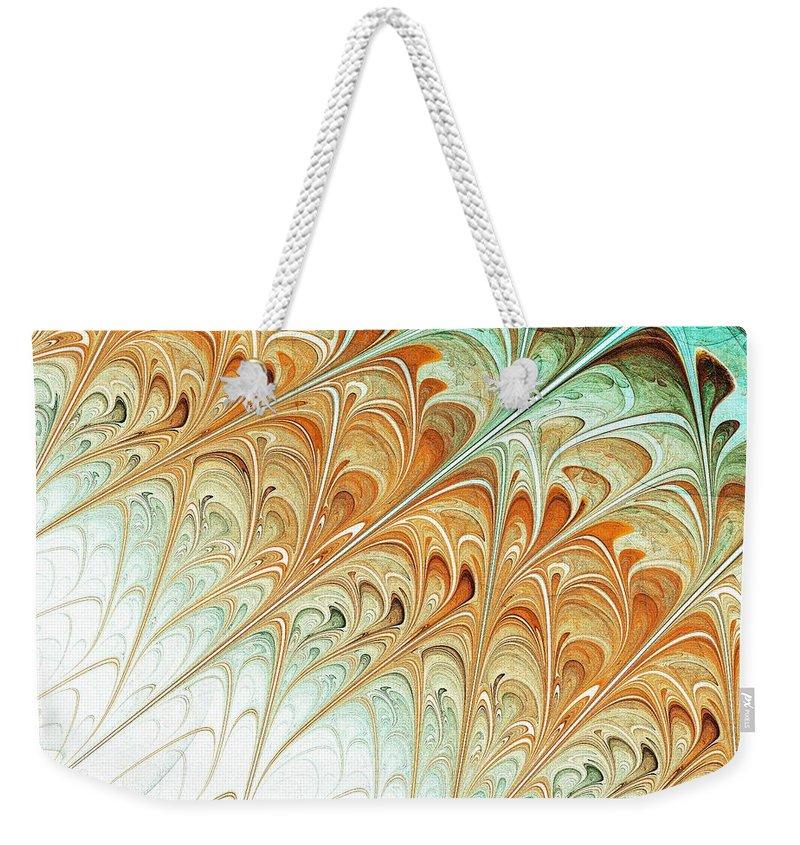 Malakhova Weekender Tote Bag featuring the digital art Orange Folium by Anastasiya Malakhova