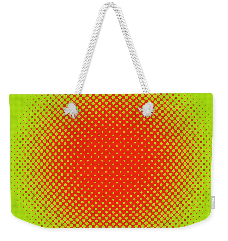 Popular Weekender Tote Bag featuring the digital art Optical Illusion - Orange On Lime by Paulette B Wright