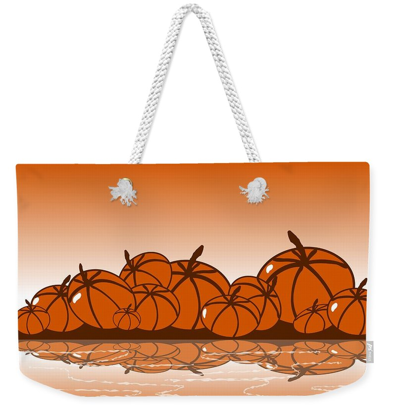 Abstract Weekender Tote Bag featuring the digital art Orange Harvest by Anastasiya Malakhova