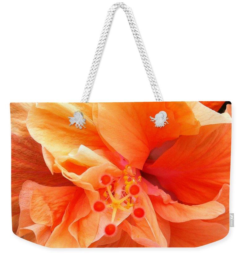 Karen Zuk Rosenblatt Art And Photography Weekender Tote Bag featuring the photograph Orange Hibiscus by Karen Zuk Rosenblatt