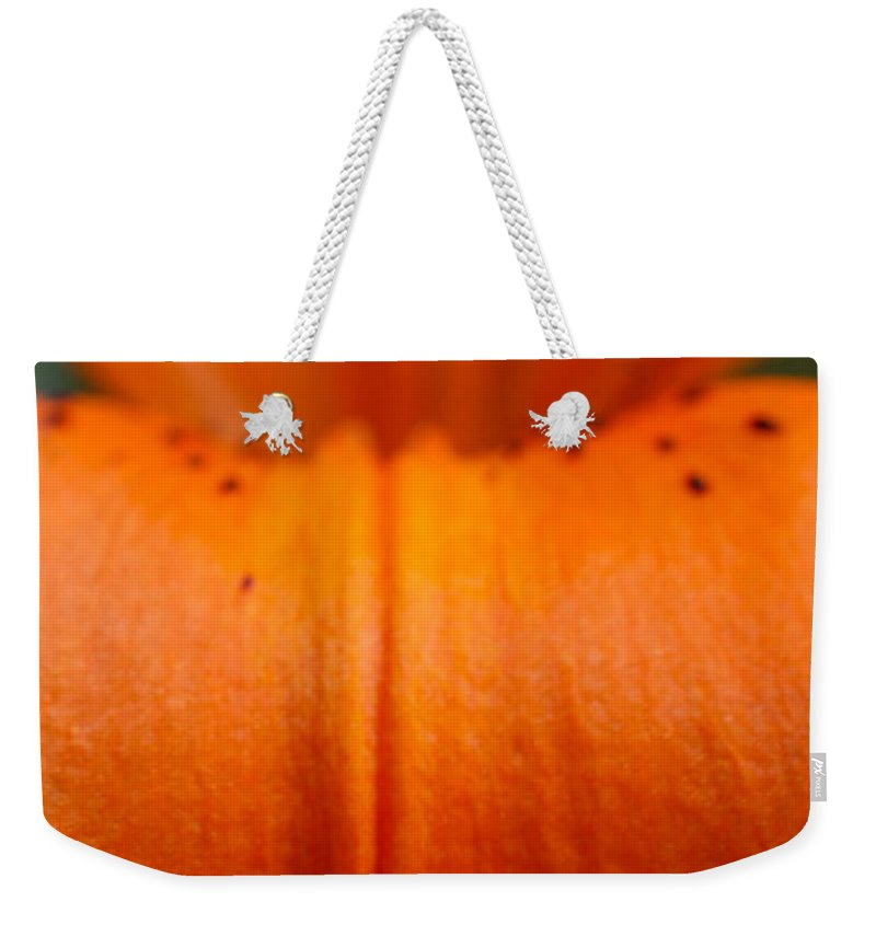 Flower Weekender Tote Bag featuring the photograph Orange Lily by Carol Lynch