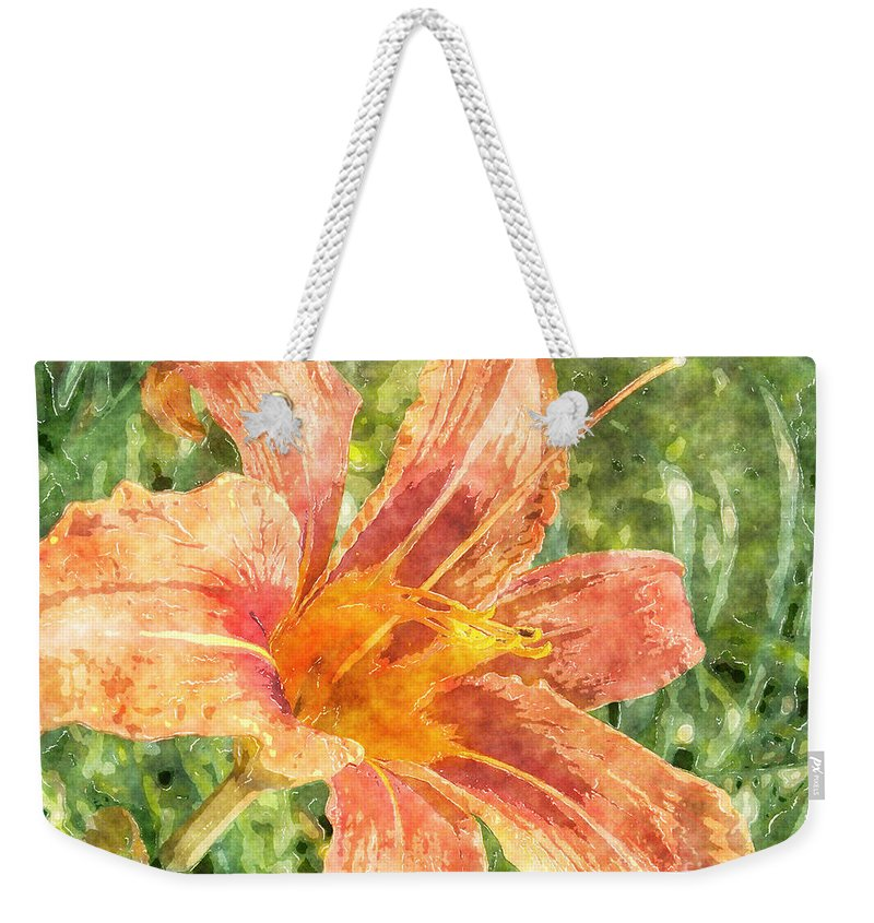 Lily Weekender Tote Bag featuring the painting Orange Lily by Claire Bull