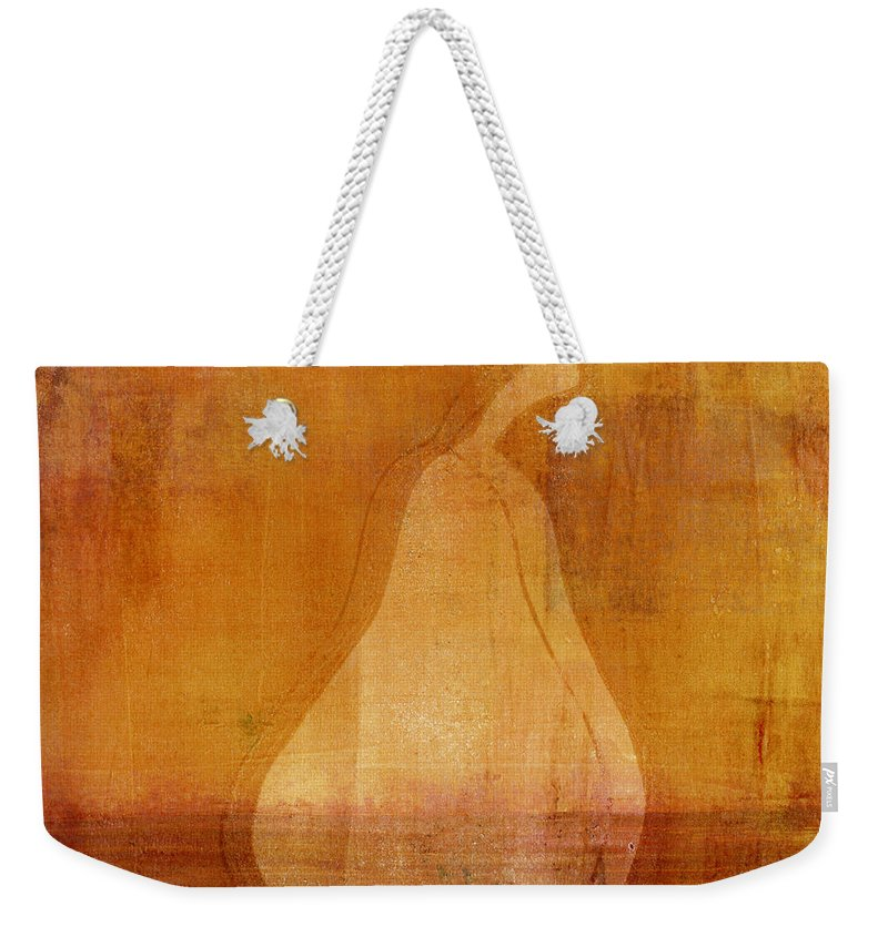 Pear Weekender Tote Bag featuring the mixed media Orange Pear Monoprint by Carol Leigh