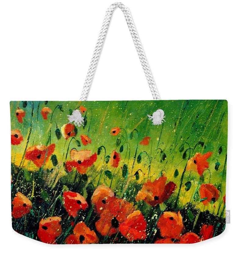 Poppies Weekender Tote Bag featuring the painting Orange Poppies by Pol Ledent