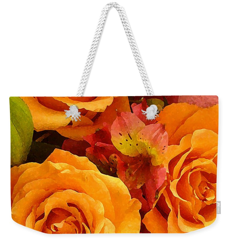 Roses Weekender Tote Bag featuring the painting Orange Roses by Amy Vangsgard