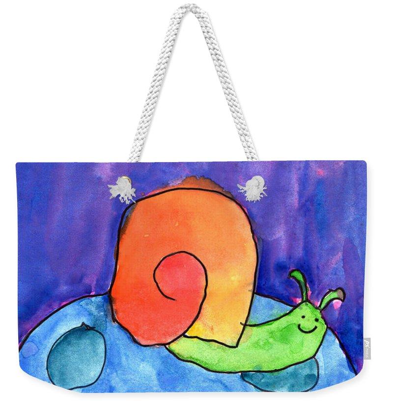 Snail Weekender Tote Bag featuring the painting Orange Snail by Nick Abrams Age Twelve