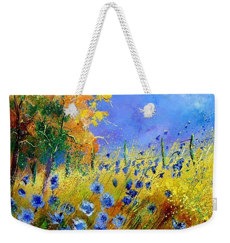 Poppies Weekender Tote Bag featuring the painting Orange tree and blue cornflowers by Pol Ledent